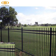 Cheap black powder coated galvanized security backyard metal steel picket fencing