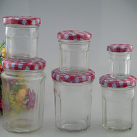 2016 Cheap price wide mouth clear glass jam jar glass honey jar with Gingham lid