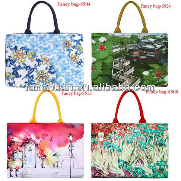 2013 fashion canvas women's bag with digital printing