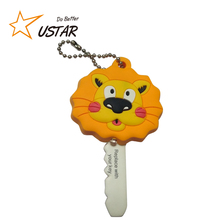 Amazon Supplier Wholesale Cheap Custom OEM Fashion Lion Animal Shape Logo Deboss Emboss Rubber Soft PVC Led Light Keychain