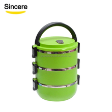Green Color Round Bento Lunch Box for kids adults with lock Custom Logo 1/2/3/4 Tier