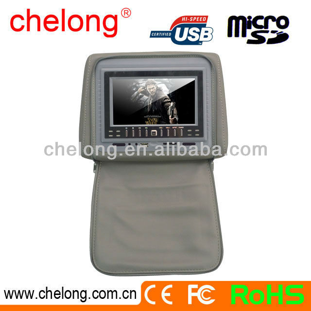 New arrived 7inc motorized slide shield car headrest dvd player