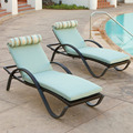 CH-H018 Outdoor Sun Lounger Chaise With Cushion And Bolster Pillow