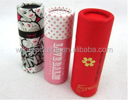 Small size paper cylinder packaging tubes box cosmetic lipstick paper tubes lip balm packaging