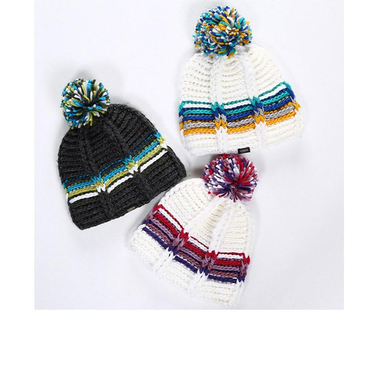 led cotton crochet beanie hats cute ear winter warm hat