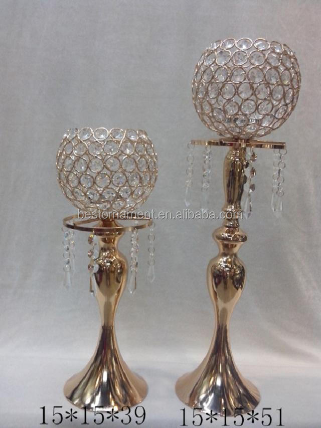 Gold beaded crystal ball candelabra centerpiece view
