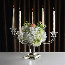 Hot selling crystal flower stand candlestick for party decoration wedding centerpiece