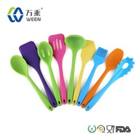 Hot sale eco-friendly colorful silicone kitchen utensils set/silicone spoon/spatula,/scoop/ladles/ turners/crapers