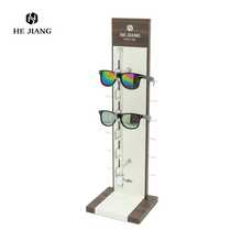 Metal rack support eyewear display, wooden sunglasses display stand for sale