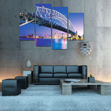 Modern Night Bridge Cityscape Lighted Canvas Art for Decoration 2015