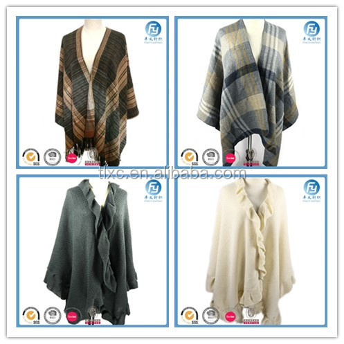 European and American style winter lady poncho shawl blanket poncho