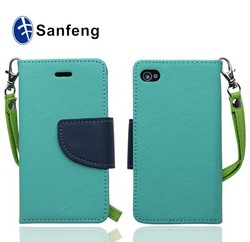 teal+navy blue multi-function flip mobile phone cover for iphone 4 4s
