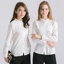 Blank cotton office casual lady blouses tops girls long sleeve woman plain white shirt