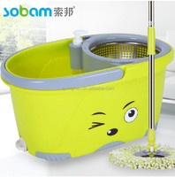 2016 dry spin mop 360 mop bucket with printed promotion made in china