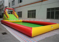 Inflatable pool and slide combos