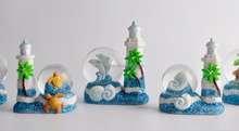 funny light tower polyresin turtle snow globe
