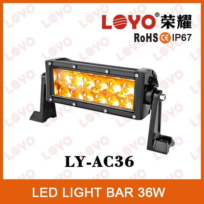 12 volt led amber led light bar 36W driving offroad light waterproof used amber light bars