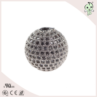 Top Quality 13.5mm Bead Size And 2mm Hole Size CZ Micro Pave 925 Sterling Silver Ball Beads