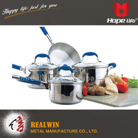 Stainless steel body cookware belly shape cookware set , kitchenware and cookware