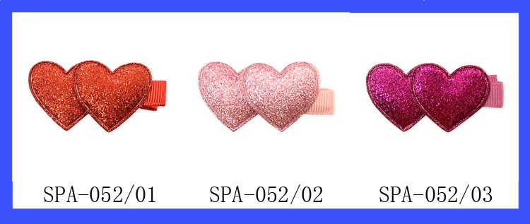 Baby Girls Cute Hot Pink Valentine Double Glitter heart With lined hair clips
