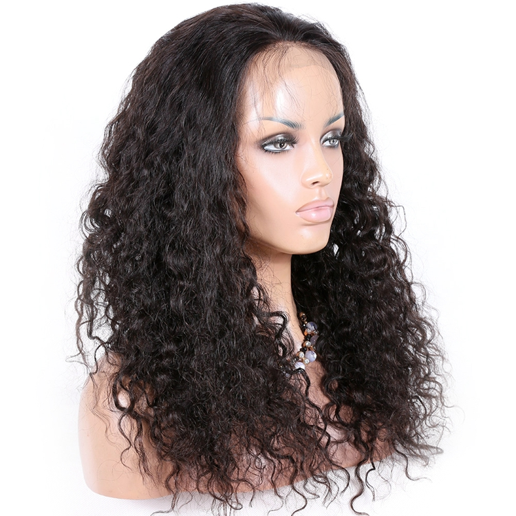 Factory direct natural color Brazilian curl Indian remy hair full lace front wig <strong>150</strong>% density