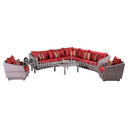 Red cushion outdoor large 9 seats couch modular sofa set rattan cube garden furniture