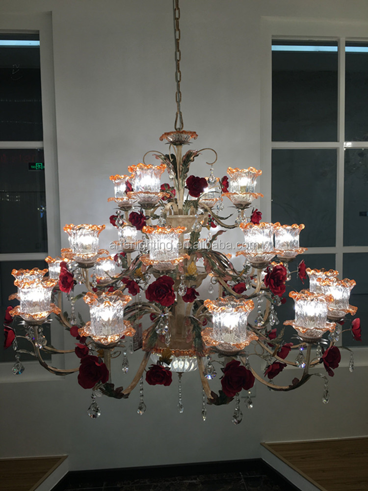 zhongshan best selling products european style iron rose flower large chandeliers for banque hall