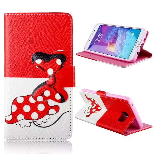 For Samsung Galaxy Note 5 leather mobile phone stand wallet cases bowknot cell phone flip cover with card holder