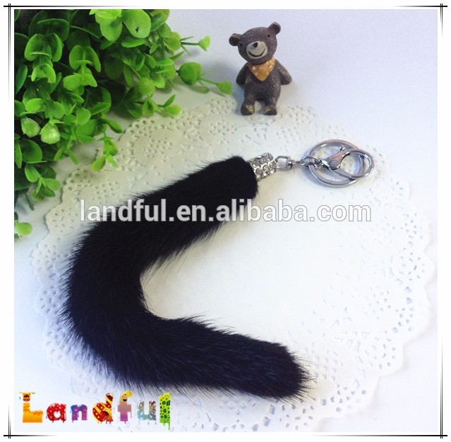 Black Fur Tail Handmade Keychain Raccoon Fox Sheepskin Fur Tail