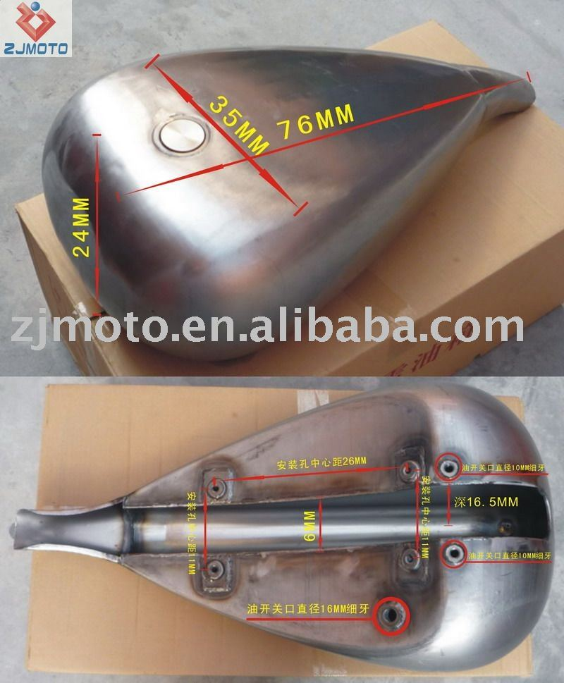 Motorcycle gas fuel tank stretched gas fuel tank and cap