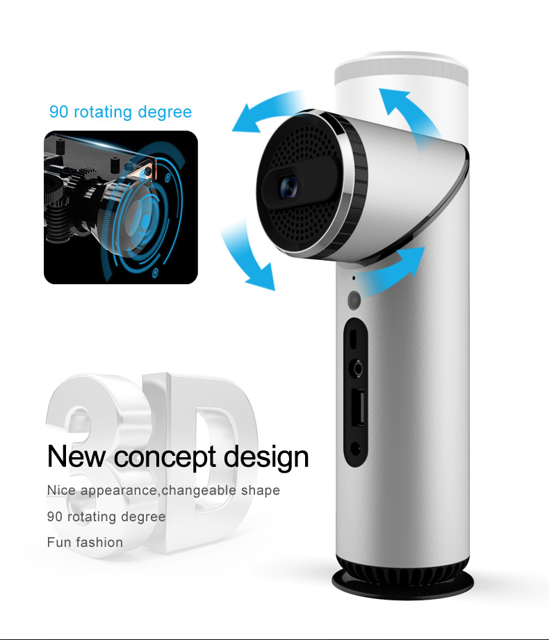DLP LED Mini Smart Home Projector with WIFI Bluetooth 200inch Projector Screen Unique Design of Torch Shape