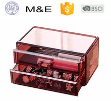 2 drawers desktop acrylic storage,Wine red plexiglass makeup drawer/organizer