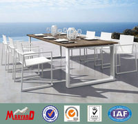 teak wood aluminum table with Polywood table top