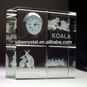 Custom 3D laser Engraved cheap crystal clock