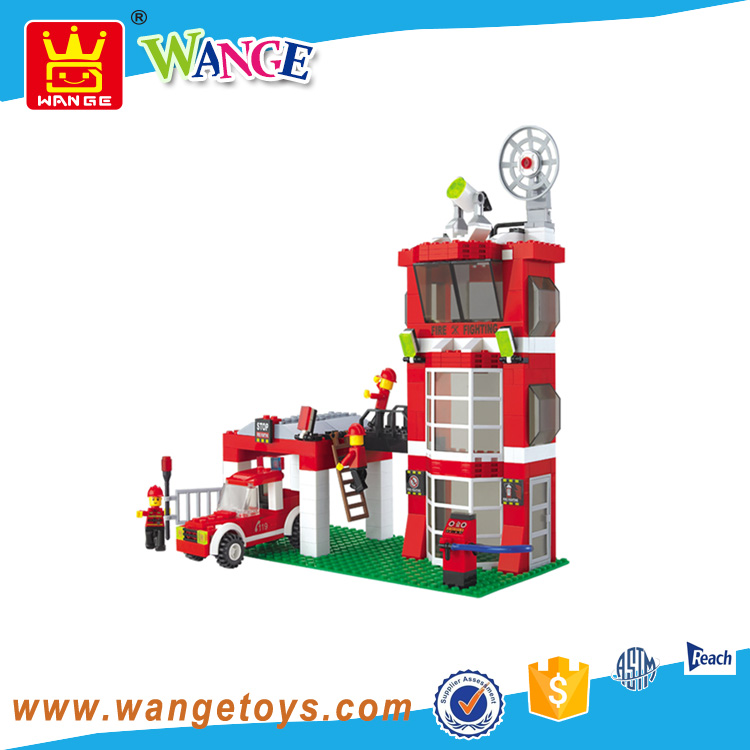 Wange Kids Tech Pretend Play Fire Station Truck Plastic Building Blocks Toys