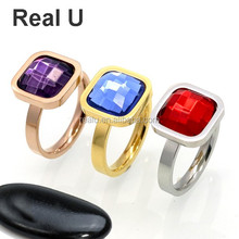 Stackable Square Shaped Large Stone Ring