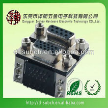 Right angle d-sub 9pin male to hdb15 pin female connector double d-sub connector
