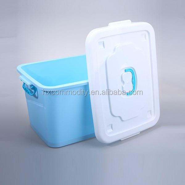 Solid Candy Color 42 Liter Rolling Plastic Latch Box with Handle