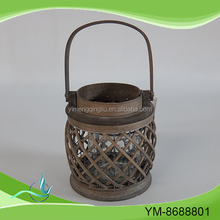 Wood candle lantern for garden decoration