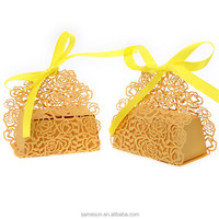 New design yellow laser cut wedding favor box