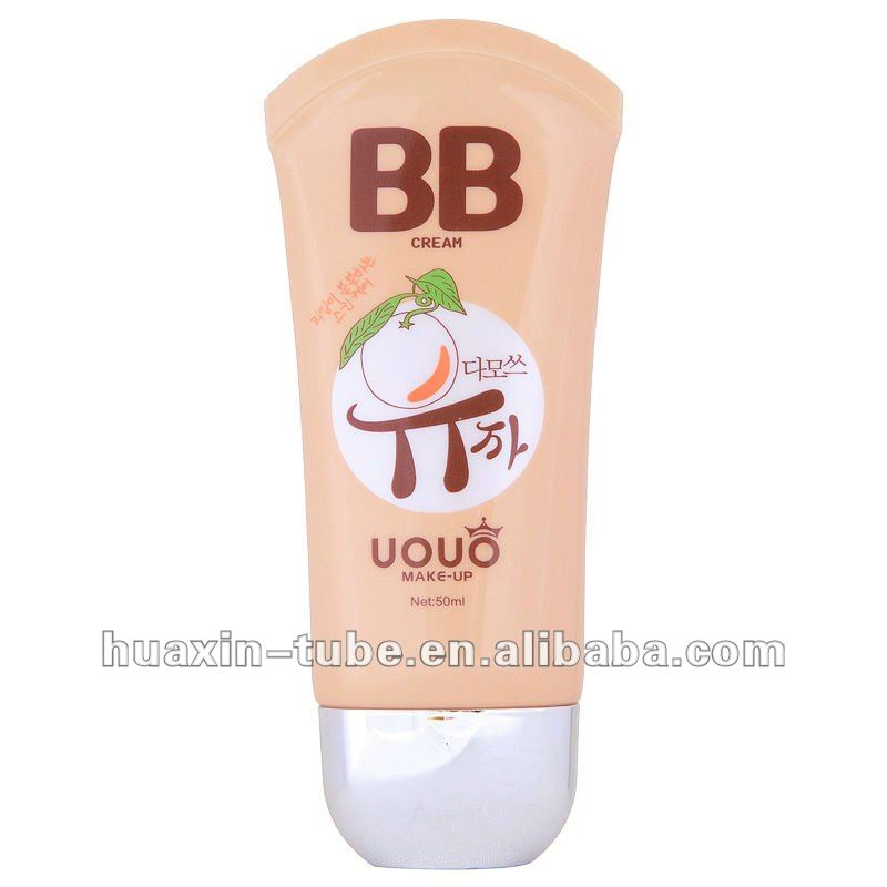 best selling product 50ml bb cream plastic cosmetic tube with silvering cap