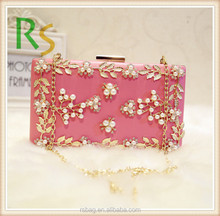 Fashion charmming Lady satin clutch evening bag with crystal fitting clutch evening bags wholesale cosmetic bag purse