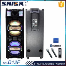 New product home theater system karaoke active speaker box with 3 wired 2 wireless microphones and flashing light