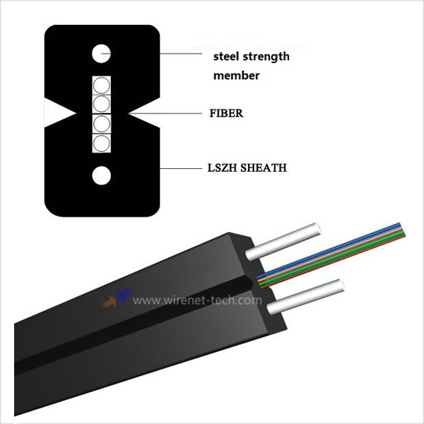 Good Price 4 core Fiber To The Home Cable SM G657A 9/125 ftth drop cable Fiber Optic Cable