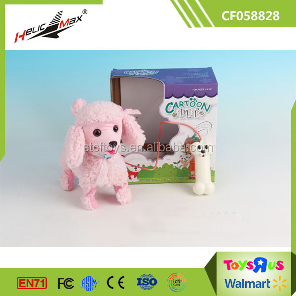 Wholesale Cheap 4 Function Lovely Walking Plush Pink Dog Toy
