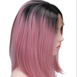 Short Bob Cut Wigs Ombre Pink Two Tone Color Silk Straight Lace Front Synthetic Wigs