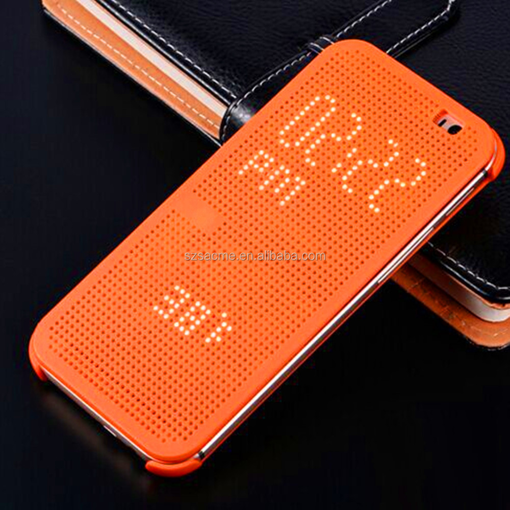 Dot View Case Smart Auto Sleep Wake Up Flip Leather Case For HTC One M8