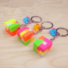Creative children's educational toys key chain,Colorful rubik's cube three-dimensional cartoon jigsaw puzzle key chain