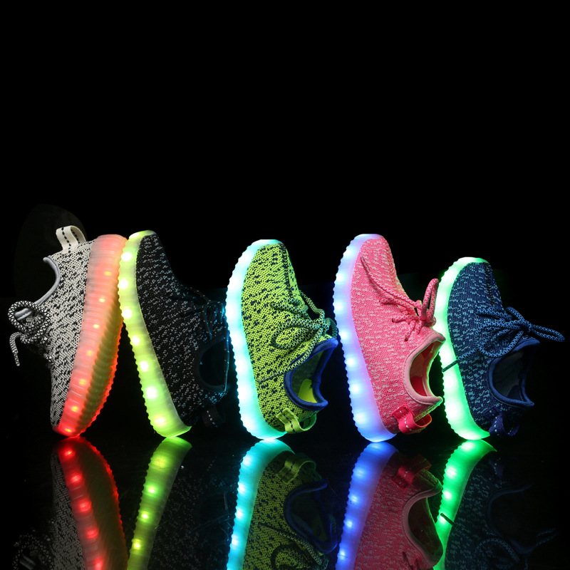 kids led shoes 2017 New spring summer Breathable Kids LED light Sneakers Children Air Mesh Colorful Flashing Boys Sports Shoes