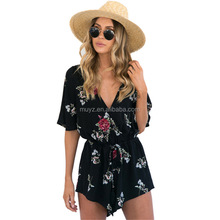 L2496A Summer Ladies Floral Print Casual Jumpsuit Womens V-neck Rompers Playsuits